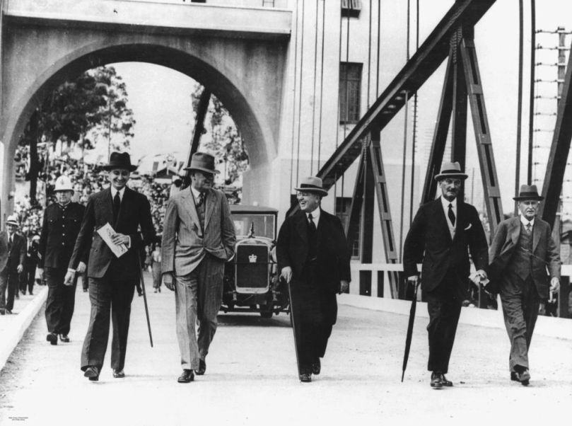 Official Opening of the Indooroopilly Toll Bridge, Brisbane, 1936. (2003), State Library of Queensland, Governor of Queensland, Sir Leslie Orme Wilson, and the official party crossing th